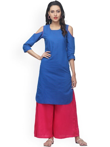 Abhishti Women Blue Woven Cold Shoulder Kurta at myntra