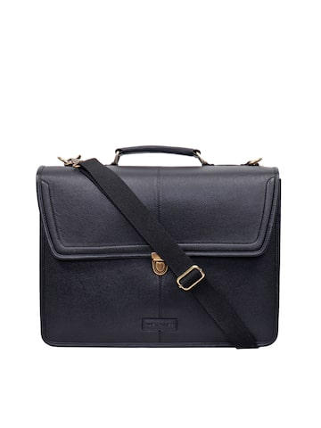 Justanned Men Black Leather Laptop Bag with Sling Strap at myntra