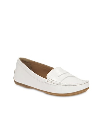 Clarks Women White Solid Leather Loafers Clarks Casual Shoes at myntra
