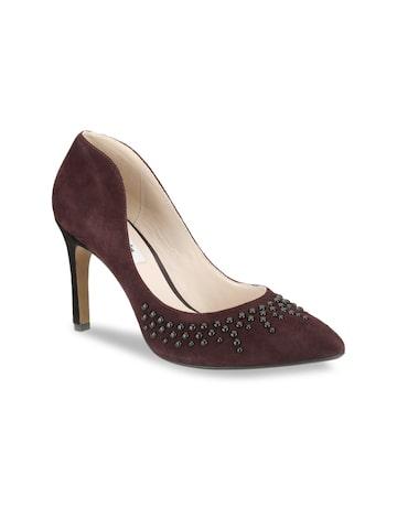 Clarks Women Burgundy Suede Pumps Clarks Heels at myntra