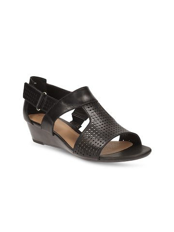 Clarks Women Black Solid Wedges Clarks Heels at myntra