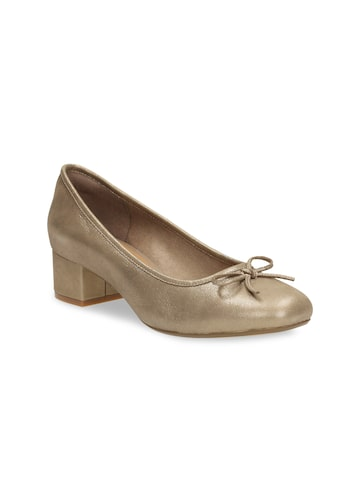Clarks Women Gold-Toned Leather Solid Pumps Clarks Heels at myntra