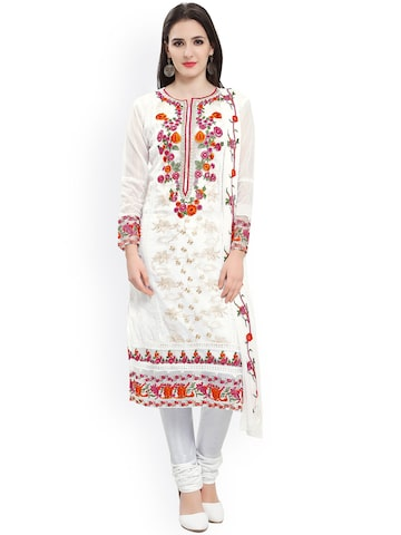 Ishin White Embroidered Unstitched Dress Material at myntra