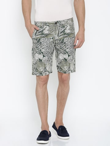 Ed Hardy Men Olive Green & White Slim Fit Printed Casual Shorts at myntra