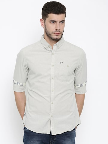 Ed Hardy Men Beige Slim Fit Pinstriped Casual Shirt at myntra