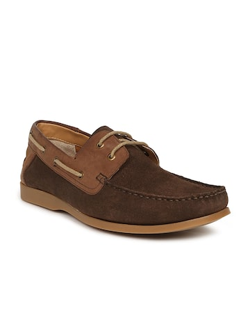 Ruosh Men Brown Colourblocked Suede Boat Shoes at myntra