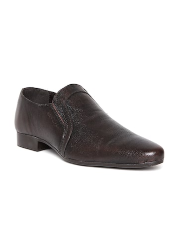 Red Tape Men Coffee Brown Leather Semiformal Slip-Ons at myntra