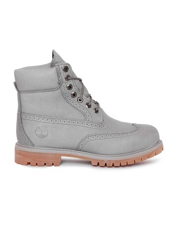 Timberland Men Grey Perforations High-Tops Flat Boots at myntra