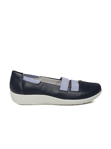 Clarks Women Navy Blue Slip-On Sneakers at myntra