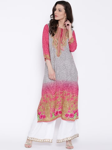 Shree Women Grey & Pink Printed Straight Kurta at myntra