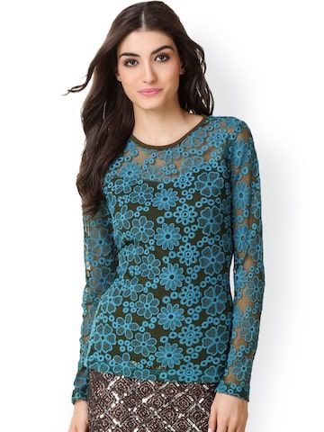 Texco Women Blue & Black Lace Top  at myntra