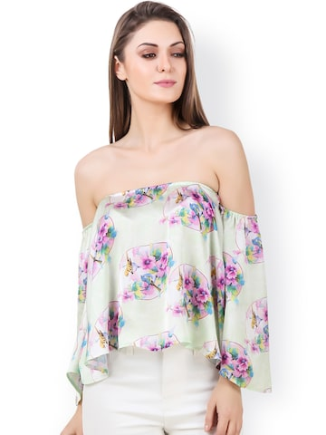 Texco Green Floral Print Satin Bardot Top at myntra