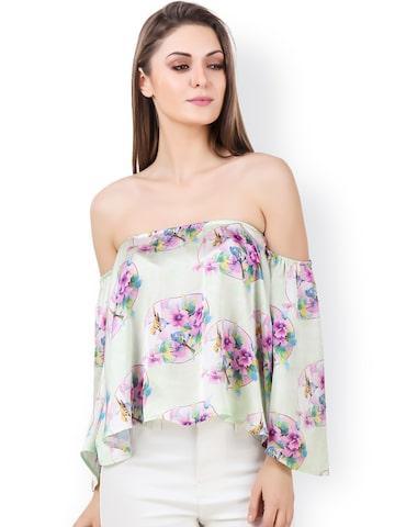 Texco Green Floral Print Satin Bardot Top at myntra