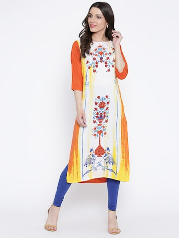 AURELIA Women Off-White & Orange Printed Straight Kurta at myntra