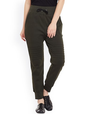 Miss Chase Olive Green Jogger Trousers at myntra