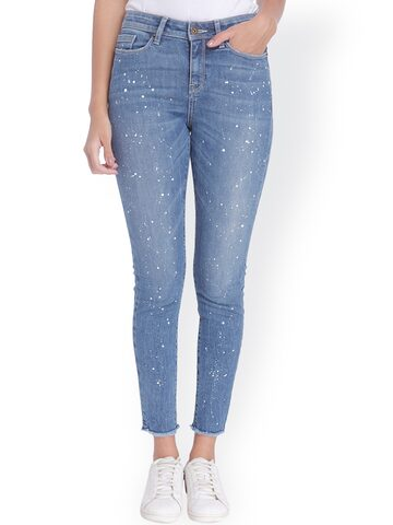 Vero Moda Women Blue Slim Fit Mid-Rise Clean Look Jeans at myntra