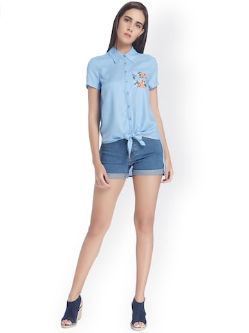 Vero Moda Women Blue Standard Fit Casual Shirt at myntra