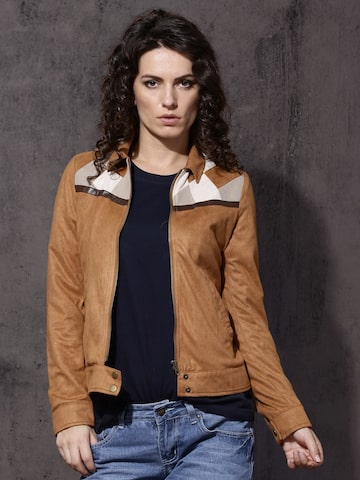 Roadster Women Brown Solid Bomber Jacket Roadster Jackets at myntra
