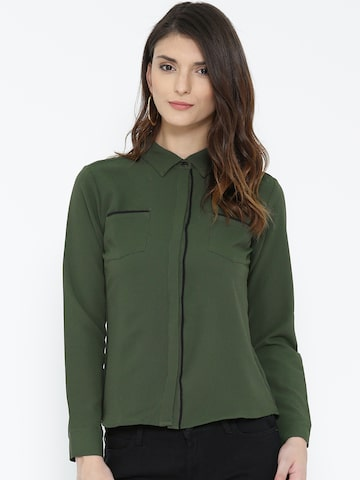 Noi Women Olive Green Self-Design Casual Shirt at myntra