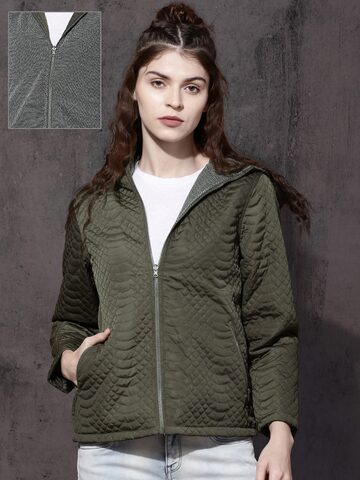 Roadster Women Olive Green Solid Reversible Padded Jacket Roadster Jackets at myntra