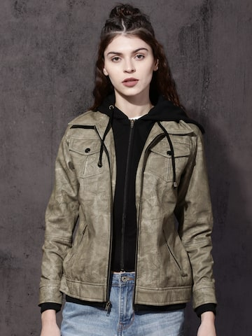 Roadster Women Green Solid Bomber Hooded Jacket Roadster Jackets at myntra