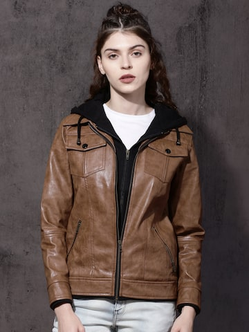 Roadster Women Brown Solid Bomber Hooded Jacket Roadster Jackets at myntra