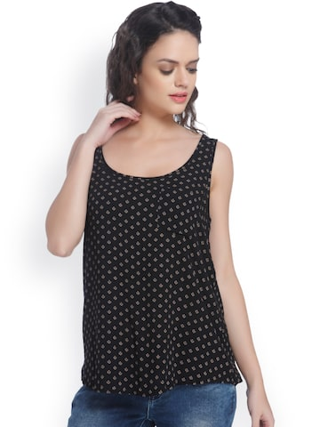ONLY Women Black Printed Top at myntra
