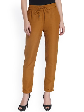 ONLY Brown Loose Fit Peg Trousers at myntra