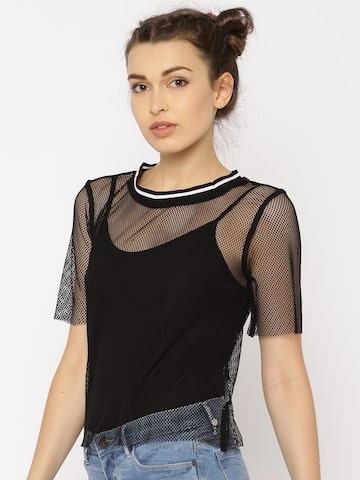ONLY Women Black Sheer T-shirt at myntra