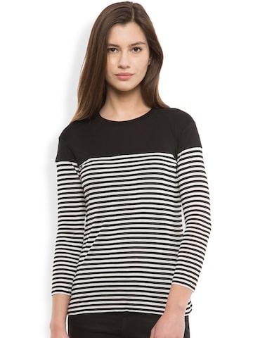 Tokyo Talkies Women Black Striped Round Neck T-Shirt at myntra