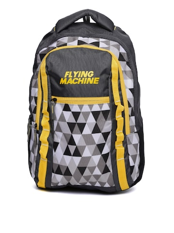 Flying Machine Unisex Charcoal Grey & Yellow Printed Backpack at myntra