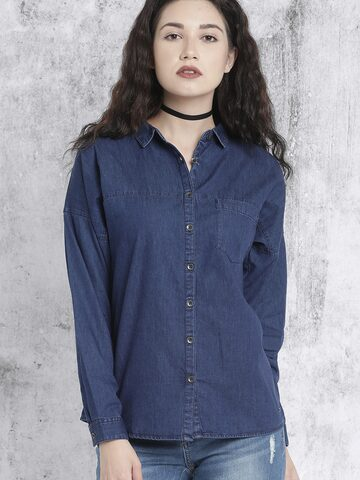 Roadster Women Navy Blue Regular Fit Solid Casual Shirt at myntra