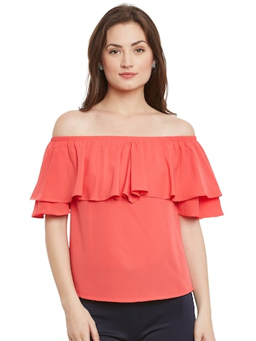 Popnetic Women Coral Red Loose Fit Layered Bardot Top at myntra