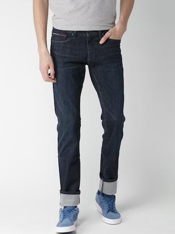 Tommy Hilfiger Men Navy Blue Slim Scanton Fit Mid-Rise Clean Look Jeans at myntra