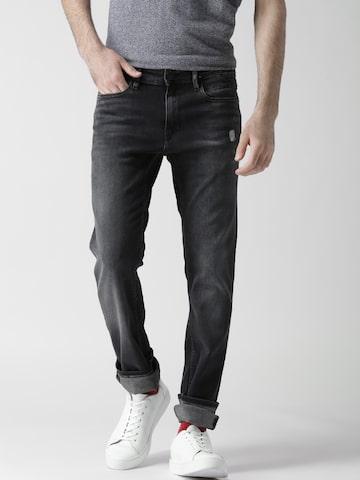 Tommy Hilfiger Men Black Slim Fit Mid-Rise Light Distress  Jeans at myntra