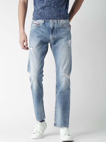 Tommy Hilfiger Men Blue Slim Straight Slater Fit Mid-rise Mildly Distressed Jeans at myntra