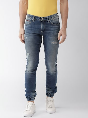 Tommy Hilfiger Men Blue Slim Fit Mid-Rise Mildly Distressed Stretchable Jogger Jeans Tommy Hilfiger Jeans at myntra