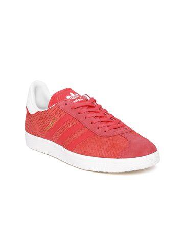 Adidas Originals Women Coral Orange Gazelle Leather Sneakers at myntra