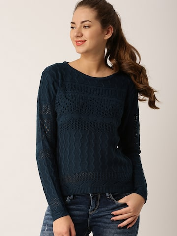 DressBerry Women Navy Self Design Pullover DressBerry Sweaters at myntra