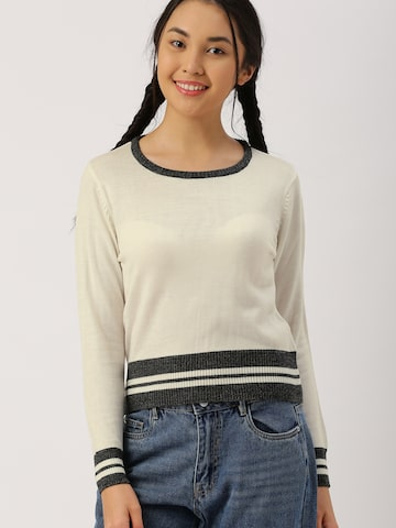 DressBerry Women Off-White Solid Pullover DressBerry Sweaters at myntra