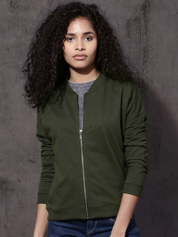 Roadster Women Green Solid Sweatshirt Roadster Sweatshirts at myntra