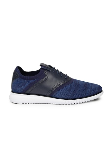 Cole Haan Men Navy 2.0 Grand Packable Saddle Sneakers at myntra