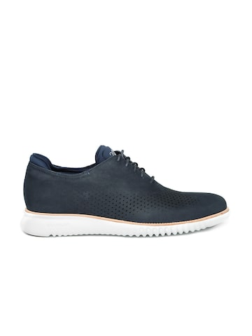 Cole Haan Men Navy Leather Oxfords at myntra