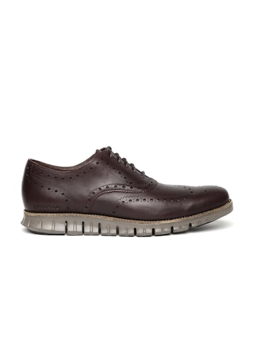 Cole Haan Men Burgundy Leather Brogues at myntra