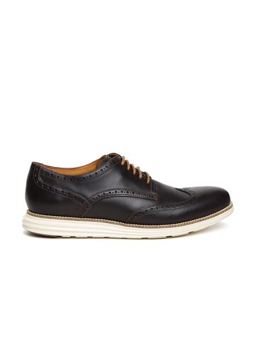Cole Haan Men Brown Original Grand Wing Leather Brogues at myntra