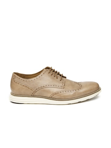 Cole Haan Men Light Brown Original Grand Wing Ox Leather Brogues at myntra