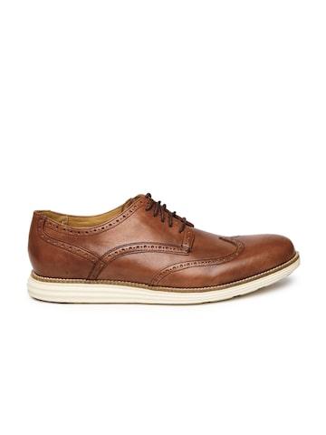 Cole Haan Men Brown Original Grand Wingtip Leather Brogues at myntra