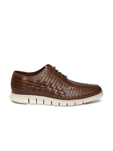 Cole Haan Men Brown Textured Zerogrand Huarache Leather Oxford Shoes at myntra