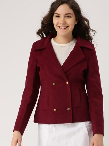 DressBerry Burgundy Short Coat at myntra
