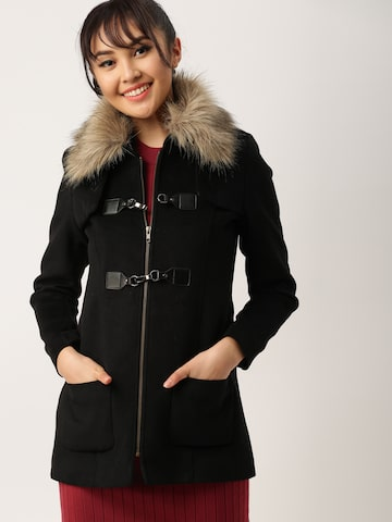DressBerry Black Trench Coat DressBerry Coats at myntra
